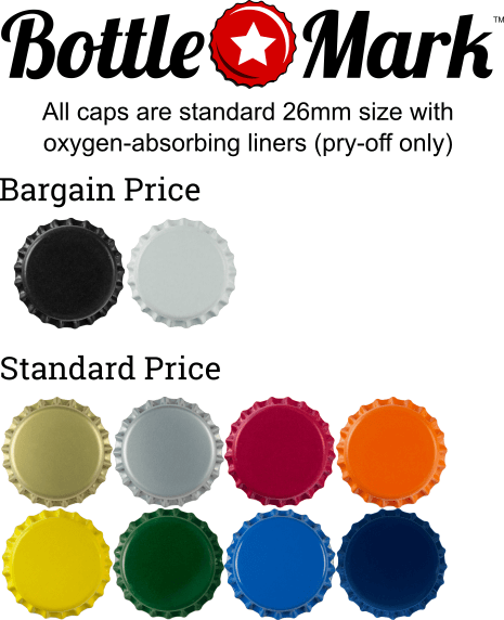 bottle cap colors, as described following
